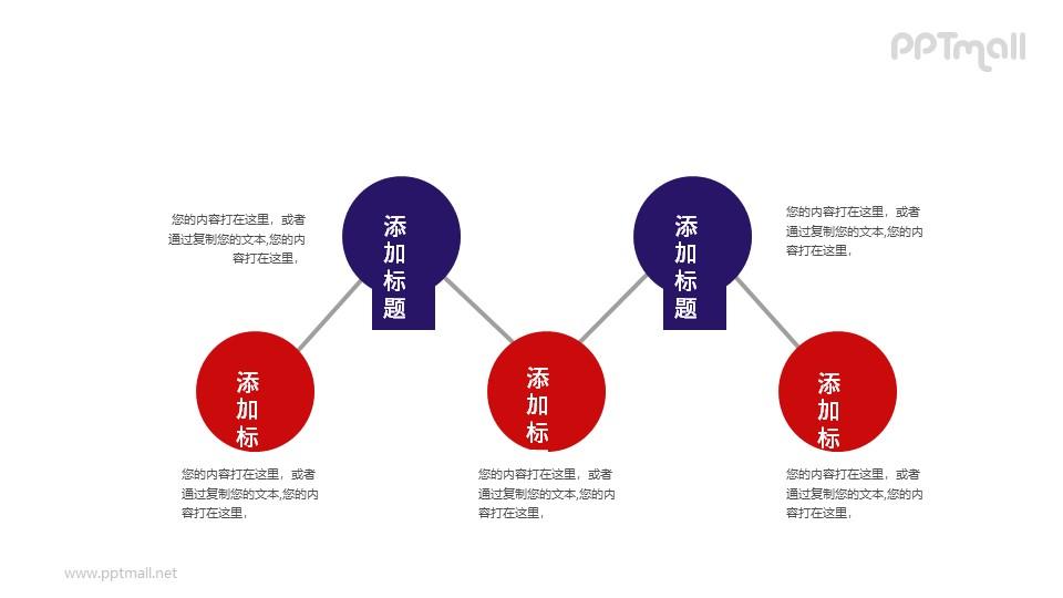 5部分递进关系PPT素材模板下载