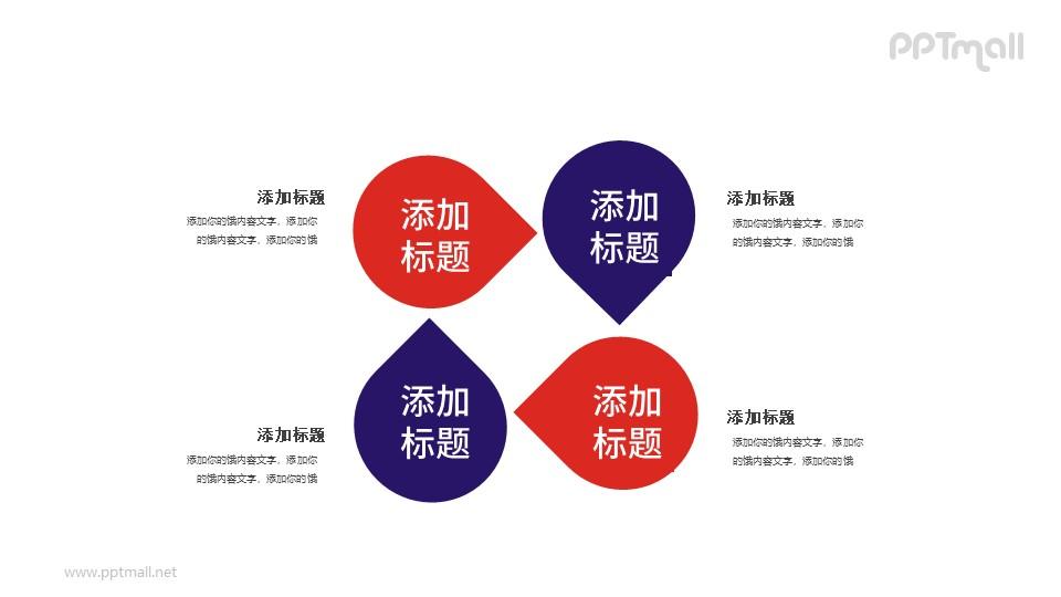 循环四部分PPT素材模板下载