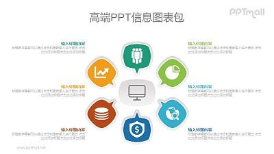 5部分总分关系PPT图示素材下载