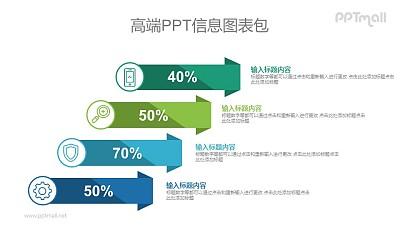 4部分数据列表PPT图示素材下载