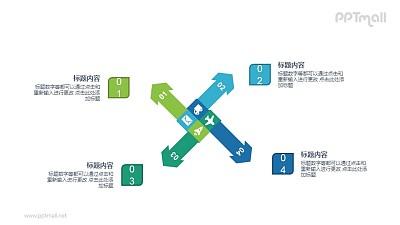 风车状4部分要点列表PPT图示素材下载