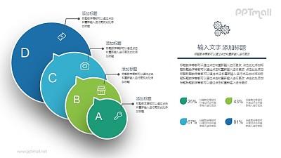 4部分递进关系PPT图示素材下载