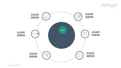 卫星关系图/总分关系PPT图示素材下载