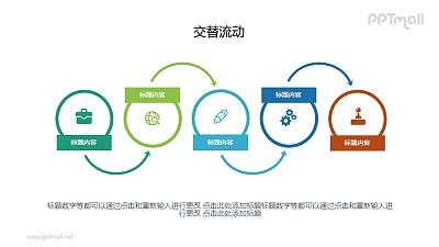5个步骤递进关系PPT图示素材下载