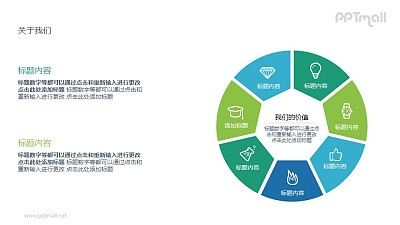 被分成7个部分的圆环PPT图示素材下载