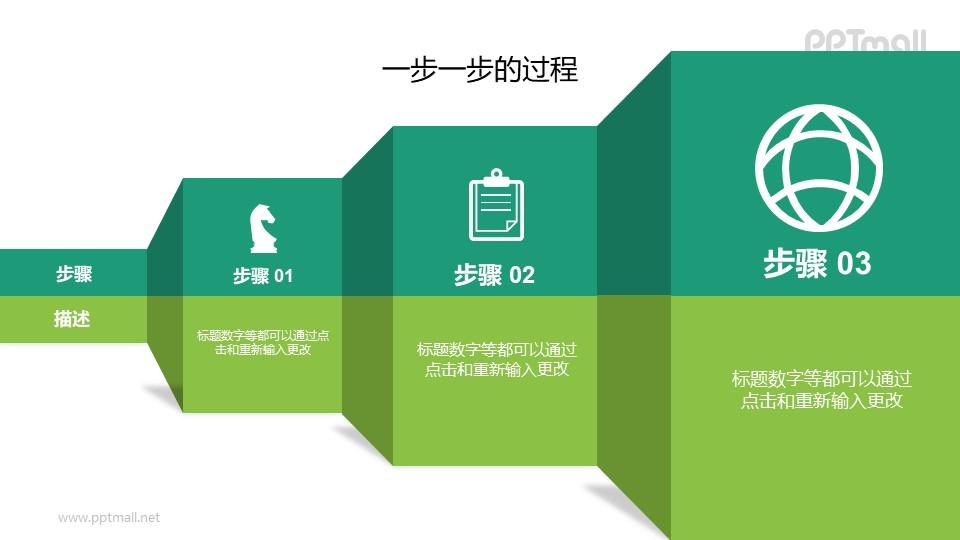 逐步增大的递进关系PPT逻辑图示素材下载