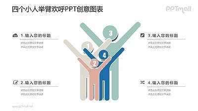 双手举高的4口家庭PPT图示素材下载