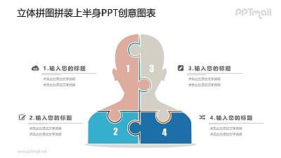 分成四部分的人体PPT图示素材下载