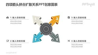 四面散开的箭头PPT图示素材下载