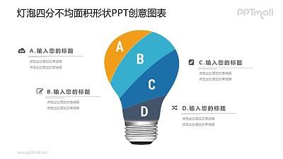 一分为四的电灯泡PPT图示素材下载
