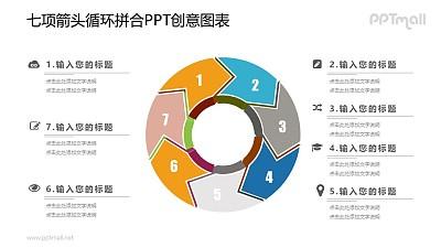 7部分循环图PPT图示素材下载