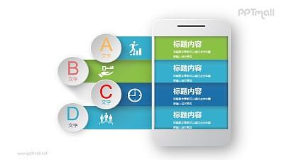 手机样机样式的四部分目录PPT图示素材下载