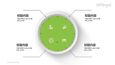 钟表状的四部分并列关系PPT图示素材下载