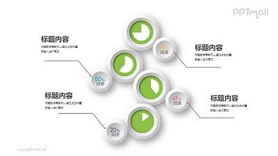 散开的饼图和数字展示PPT图示素材下载