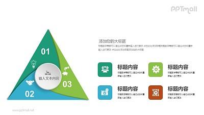 一个三角形被分成三份的PPT图示素材下载