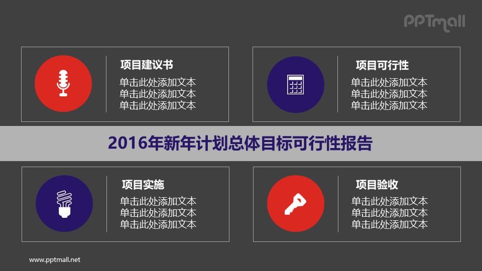 新年计划总体目标可行性报告PPT素材模板下载