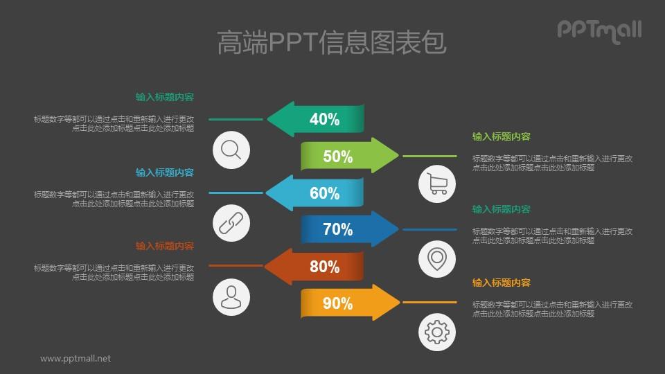 并列关系的数据展示PPT图示素材下载