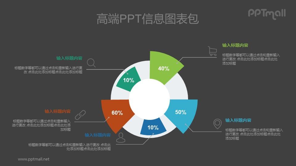 个性饼图PPT图示素材下载