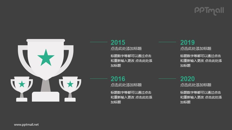不同年份获奖情况PPT图示素材下载