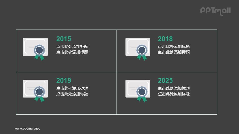 不同年份毕业证书PPT版式图示素材下载