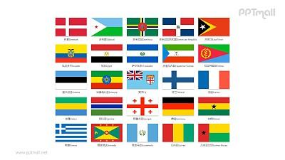世界各国国旗/国家按字母D-G排序的国旗PPT图片素材集合下载