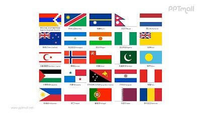 世界各国国旗/国家按字母N-R排序的国旗PPT图片素材集合下载