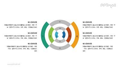 四面八方辐射的靶形状PPT图示素材下载