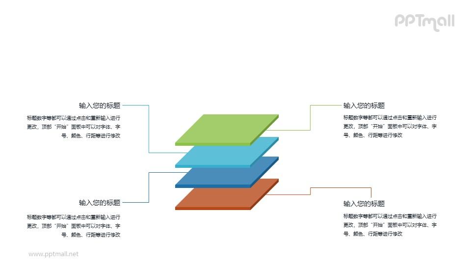 四块叠在一起的立体方块PPT图示素材下载