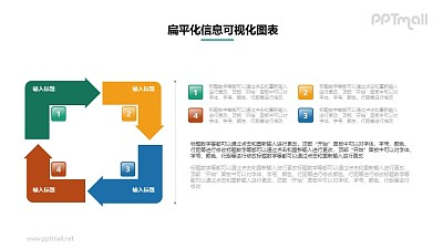 4部分矩形循环关系PPT素材下载