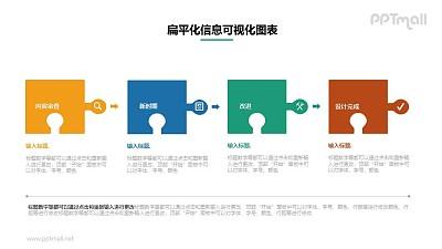 四个并列关系的拼图PPT素材下载