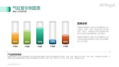 立体气缸/管状示例图表PPT素材下载