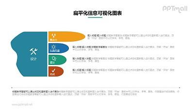 手指形状的并列关系PPT图示素材下载