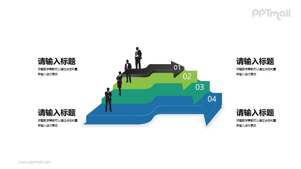 商务人物+立体箭头组成的4部分内容PPT素材下载