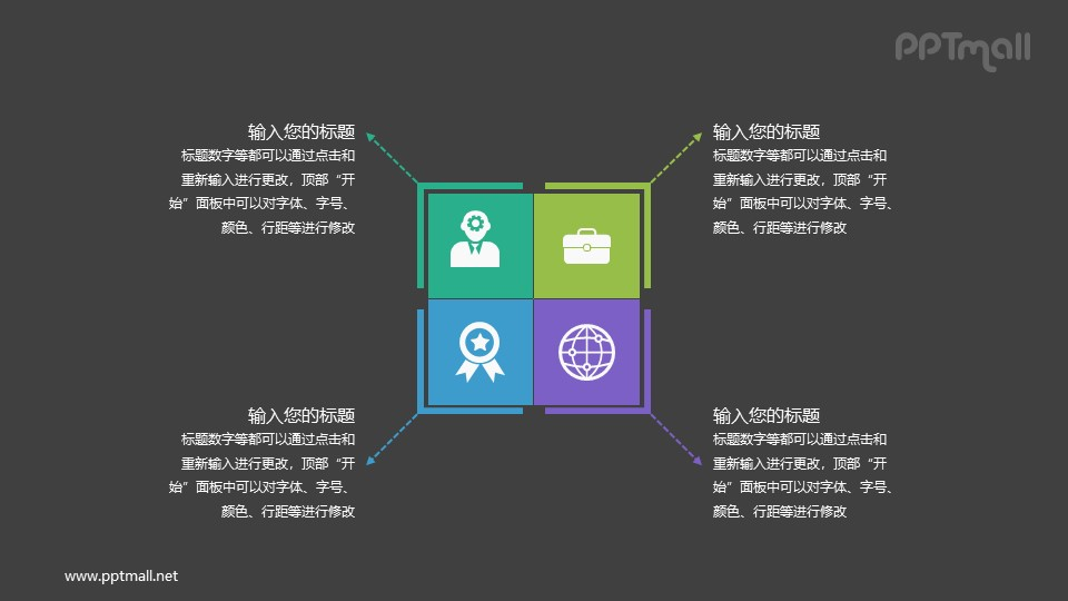 产品目标人群/荣誉/商务/全球化4部分说明PPT图示素材下载