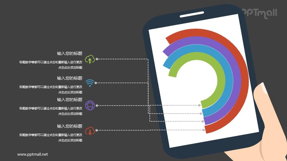 平板电脑里的圆环图数据分析PPT素材下载