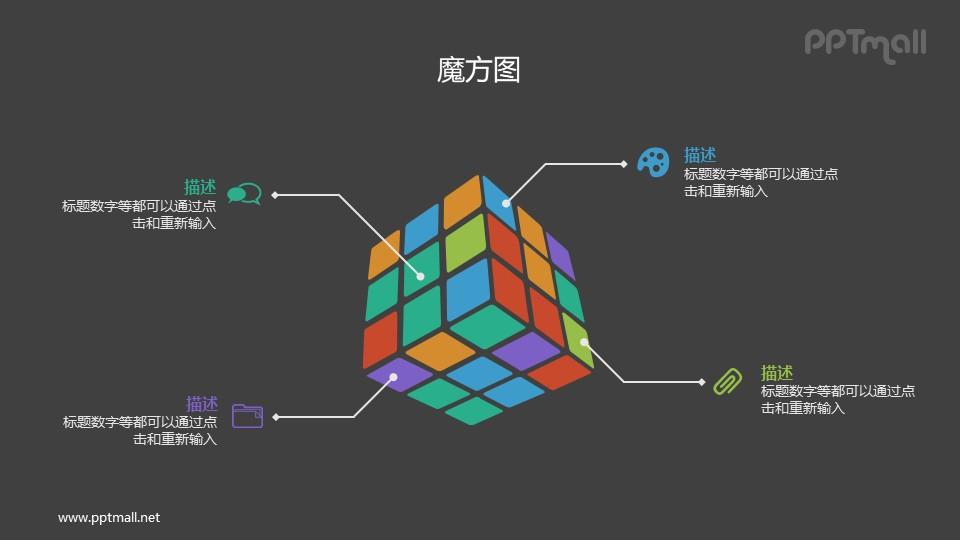 彩色3D立体魔方PPT素材下载