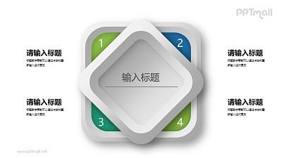 立体样式的4要点PPT目录素材下载
