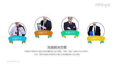 四个具有创意的职场人物介绍PPT小组件下载