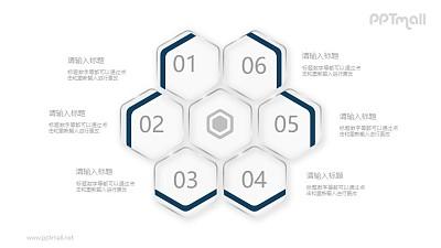 蜂窝状的六边形并列关系图示PPT素材图示下载