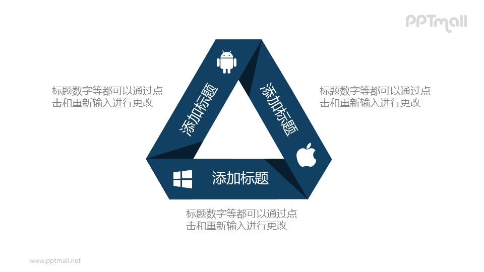 折纸风苹果、安卓、微软三角形关系PPT素材图示下载