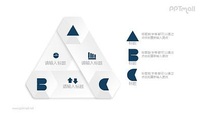 三角形的三部分并列关系图示PPT素材下载