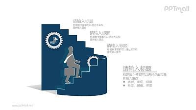 上楼梯的商务人物PPT素材图示下载