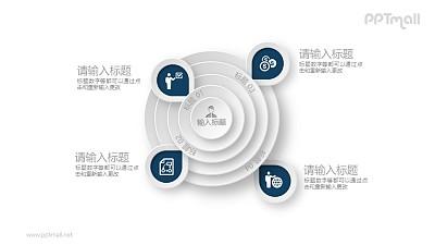 四部分总分关系要点PPT素材图示下载
