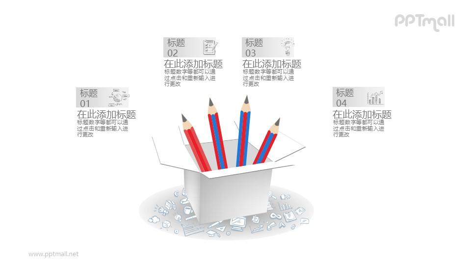 在铅笔盒里的四根铅笔PPT介绍图示下载