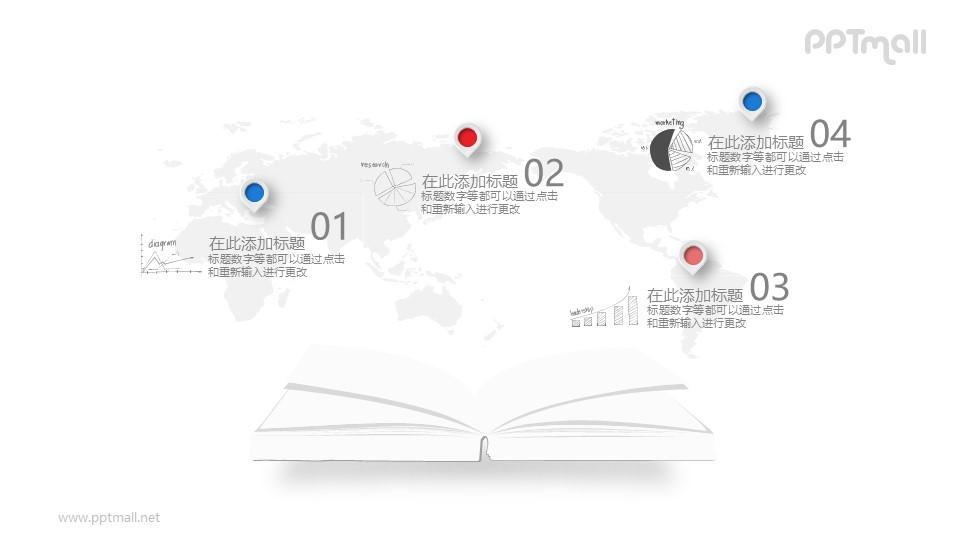 书本打开了新世界的大门PPT素材图示下载