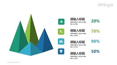 火山锥立体柱状图PPT数据图示下载