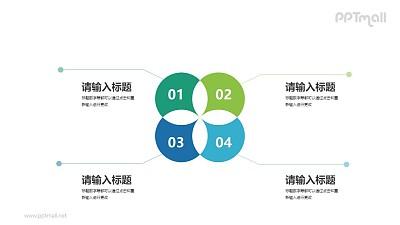 相交裁切掉的四个圆表示目录要点的PPT图示下载