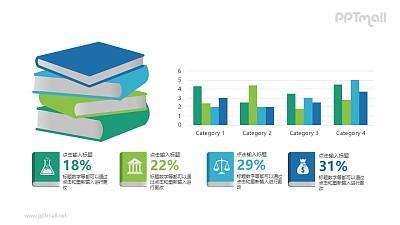 一叠书本和柱状图排版组合PPT图示下载