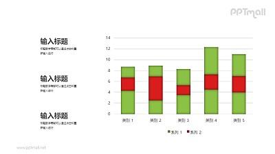 高亮数据的柱状图PPT图示下载