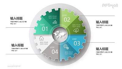 4部分并列关系齿轮图PPT图示下载